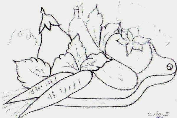 desenho tabua de carne com cenoura,tomate, beringela e pepino
