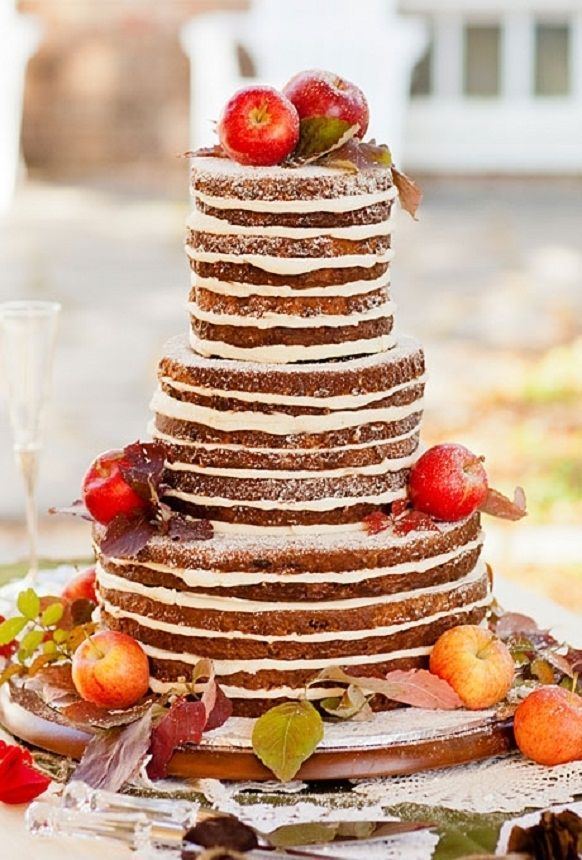 Naked Cake with Apples on top http://www.theperfectpalette.com/2014/09/apple-orchard-wedding-inspiration.html