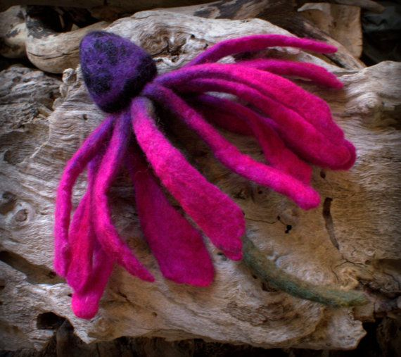 Felted fuchsia daisy flower brooch or decor for your by Petradi