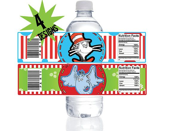 Dr Seuss Water Bottle Wrapper  Birthday Party by PartyMakeover, $5.00