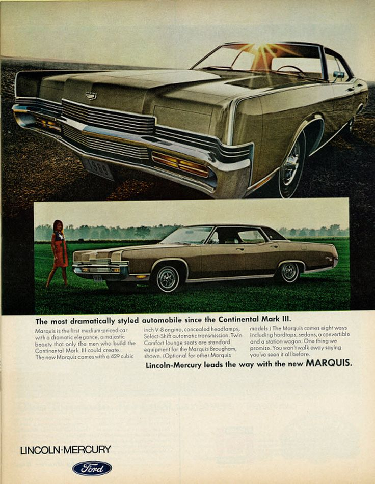 "https://flic.kr/p/hFcdXK | 1968 Car Ad, Lincoln Mercury Marquis | Vintage 1960s magazine advertisement, Lincoln Mercury Marquis, 1968  Tagline: ""The most dramatically styled automobile since the Continental Mark III.""  Published in Life magazine, Nov. 1, 1968 - Vol. 65 No. 18  Fair use/no known copyright. If you use this photo, please provide attribution credit; not for commercial use (see Creative Commons license)."