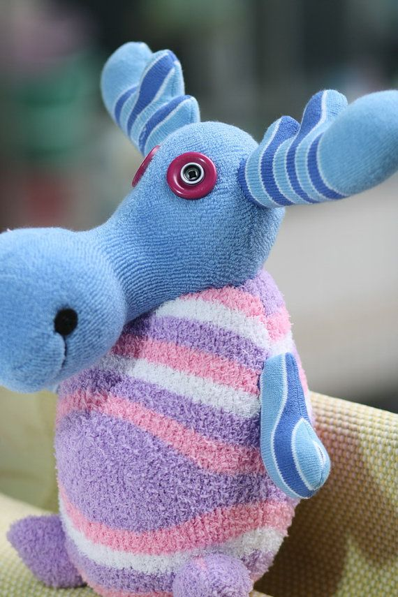 Handmade Blue deer sock doll Animals Moose stuffed by hellykary, $18.90