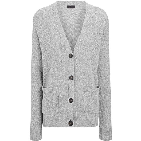 Joseph Spring Cashmere V Neck Cardigan in GREY CHINE (24,885 PHP) ❤ liked on Polyvore featuring tops, cardigans, grey chine, v neck long sleeve top, cashmere cardigans, v-neck top, loose cardigan and gray top