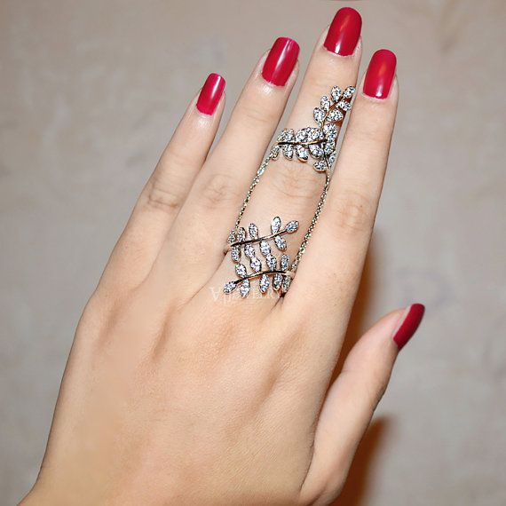 Full Finger Ring Knuckle Ring Two Branch Cubic by AmodeJewelry