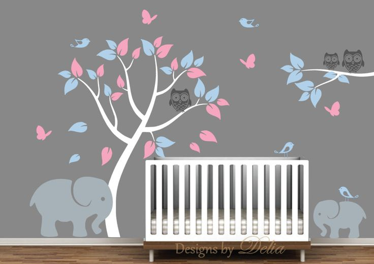 Girl or Boy Nursery Decal with Jungle Animals and Colorful Tree