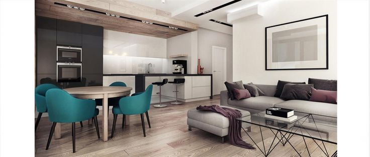 Salon z otwartą kuchnią, stół okrągły
