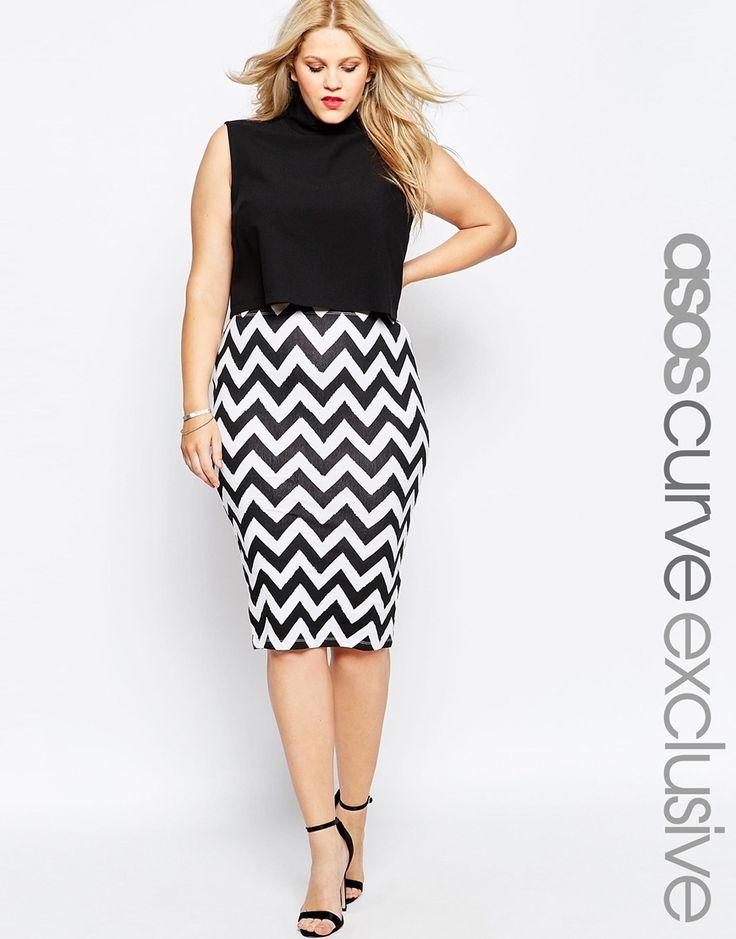 ASOS CURVE Chevron Print Pencil Skirt
