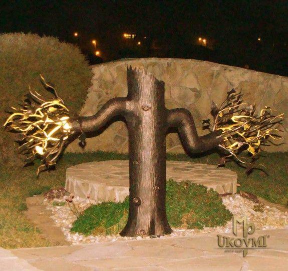 Handgeschmiedete Lampe Baum