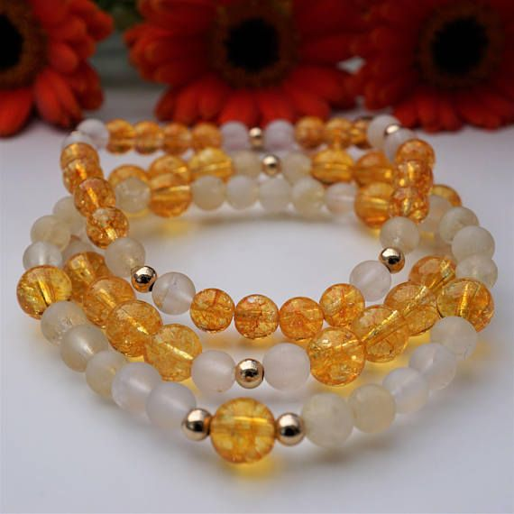 Stacking gemstone bracelets Yellow and gold stacking
