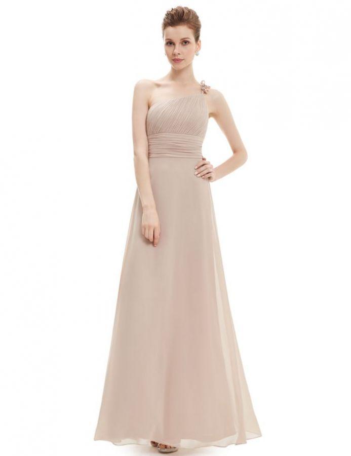 champagne pudrové šifonové společenské šaty - plesové šaty, svatební šaty, společenský salón