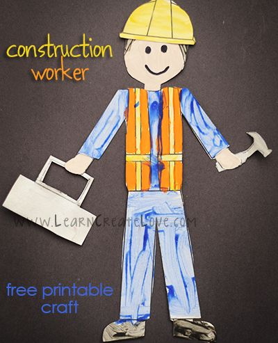 Printable Construction Worker Craft | LearnCreateLove.com