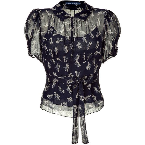 POLO RALPH LAUREN Suplice Floral Printed Silk Georgette Top ❤ liked on Polyvore
