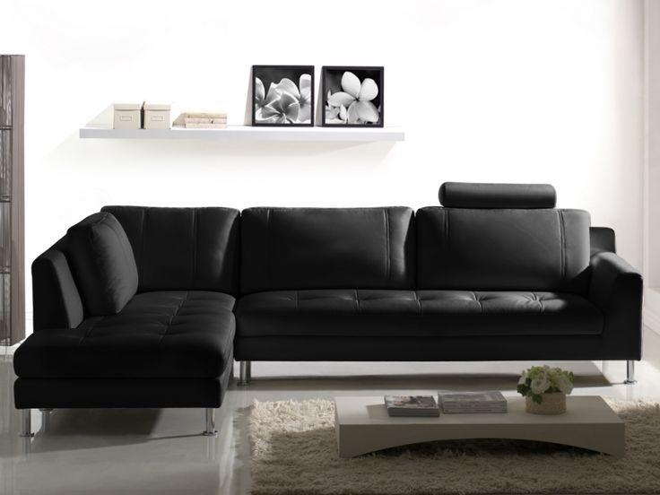 Vente Flash Canapé, Vente Unique promo Canapé d'angle en cuir OLIVIA - Noir - Angle gauche prix promo 799.99 € au lieu de 1 149 €