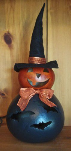 Halloween Decoration - Lighted Pumpkin Witch Gourd with Bat Cut Outs - Halloween Luminary - http://www.halloween.quick-reviews.com/6414/halloween-decoration-lighted-pumpkin-witch-gourd-with-bat-cut-outs-halloween-luminary.html