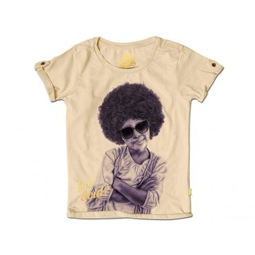Ecru t-shirt met rasta-meisje  - Mister Monkey and Misses Butterfly - Stones and Bones - Maat 92 tem Maat 128 - Meisjes - SS16