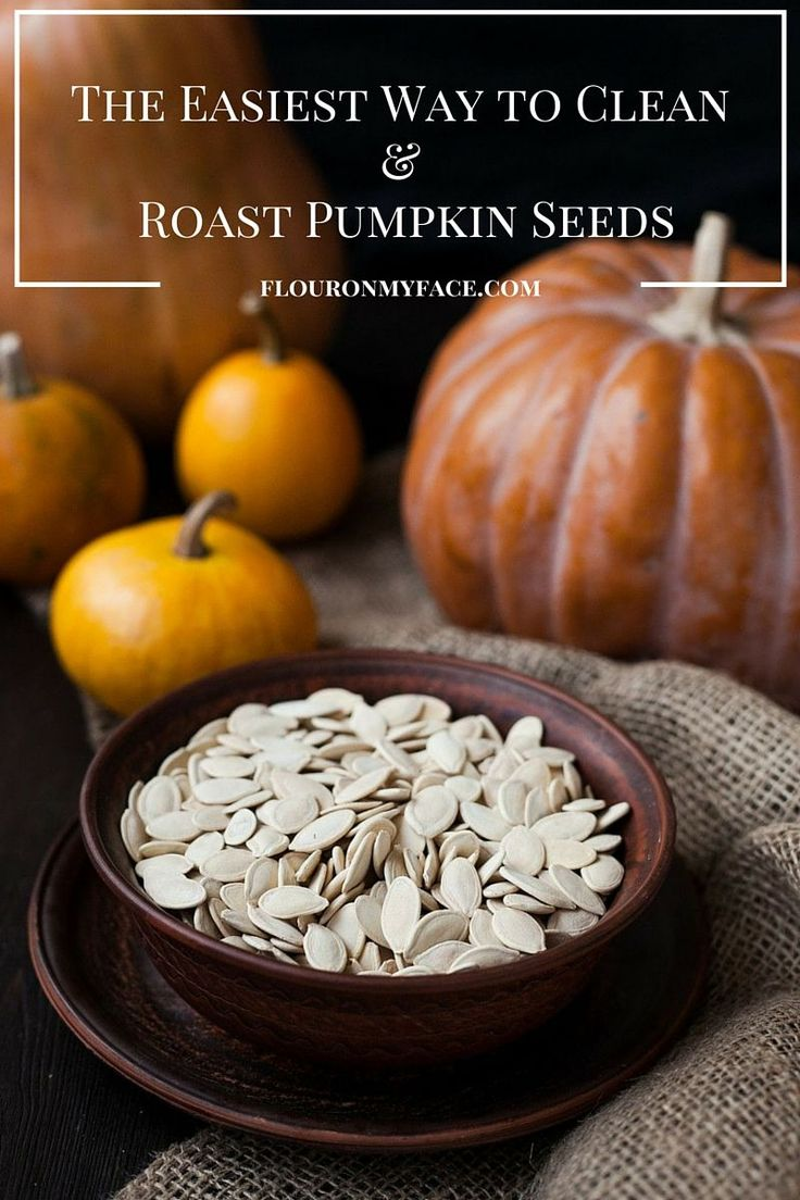 How to clean and roast pumpkins seeds. The easiest way to clean those stringy pieces of pumpkin pulp from pumpkins seeds and to make the salty roasted pumpkin seeds that you love Popular Pins via flouronmyface.com
