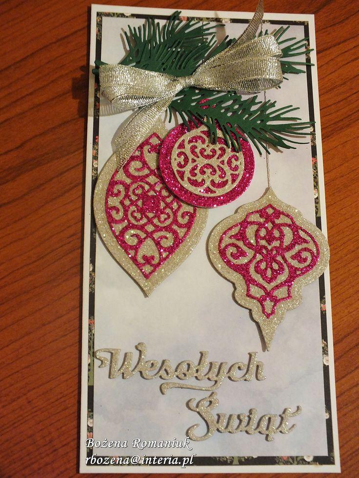 kartki świąteczne - spellbinders heirloom reflections, gałązka Impression Obsession