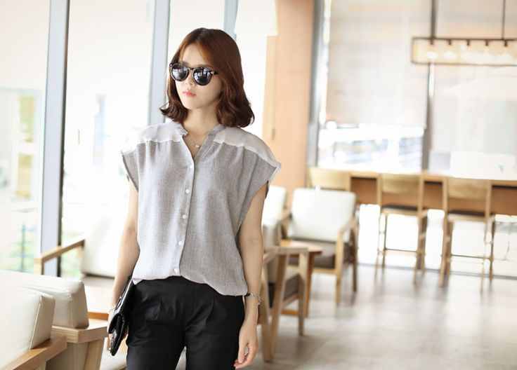 Republic of Korea reigning Women's Clothing Store [CANMART] Ravi chiffon blouse / Size : FREE / Price : 44.16 USD [Wokingmam Recommended] The unique design of the next line! Plump, comfortable and stylish to wear also like! #blouse #tops #sleeveless #shirt #koreafashion #womanfashion #dailylook #missy #OOTD #CANMART