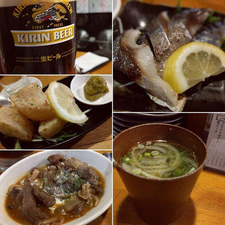 炙りしめ鯖とか 大根の唐揚げとか ( ω )っカンパイ  #ビールクズ #ビール #beer  #ハーフハーフ #鶏スープは円 #お冷やの代わりにいいかもよ #かんぱい #乾杯 #cheers