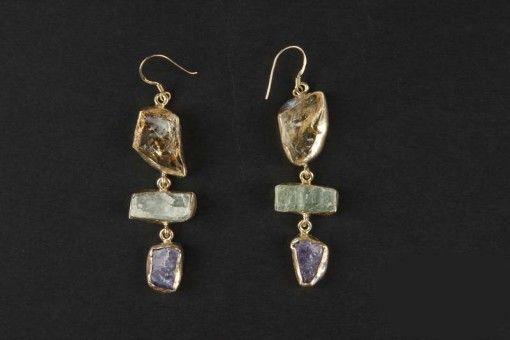 Earrings E00011 Gold plated Silver 925° stone Citrine – Apatite – Tanzanite