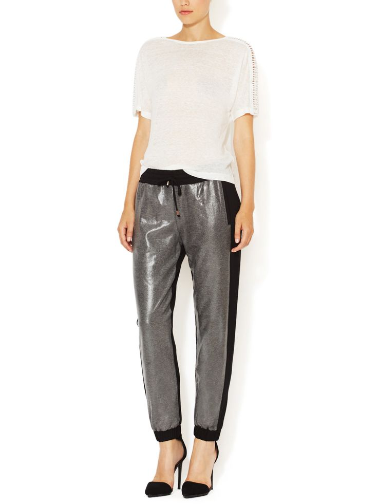 Metallic Faux-Leather Front Jogger by Renvy at Gilt