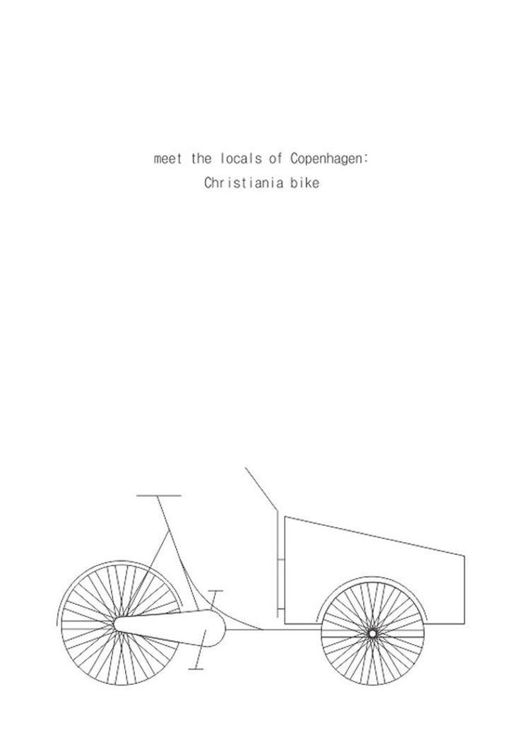 Christiania Bike - White - str. A4 plakat fra Hamide Design Studio