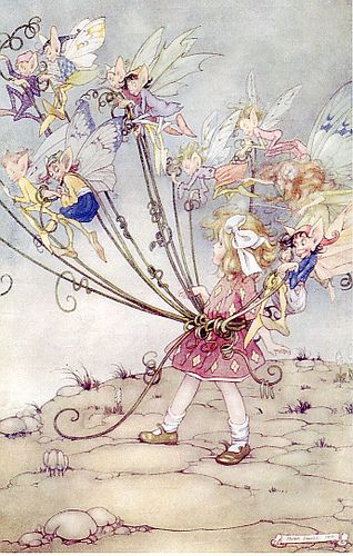 vintage illustration with fairies and elves