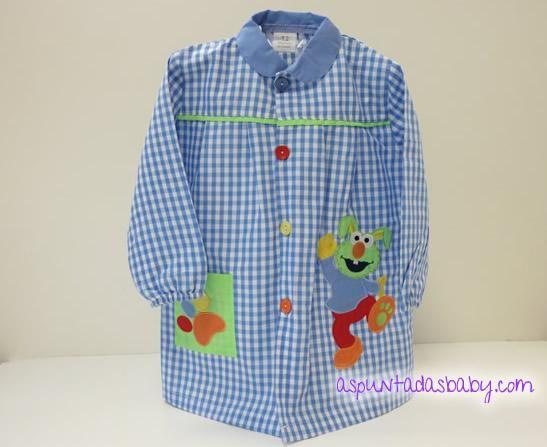 """Bata escolar mod. Conejito color azul. 14.90€ + Bordado nombre """"GRATIS"""""""