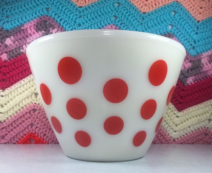 Vintage Midcentury Fire King Oven Ware Red Polka Dot 4 Quart Mixing Bowl | eBay