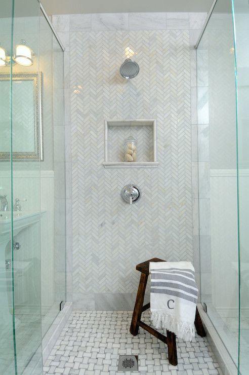 Hampton Style Bathroom.  Basket weave marble floor tile & niche.