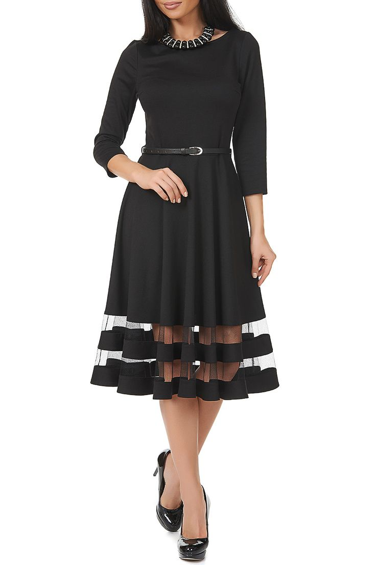 """Бренд: Argent. Описание: стильно, экстравагантно, удобно и романтично! Так уместно охарактеризовать черное платье с сеткой приталенного силуэта. Важным достоинством модели, помимо эффектной дизайнерской находки (по низу юбки сетка), является выбор ткани """"милано"""". Универсальность черных платьев неоспорима, а возможность сочетаемости с яркими аксессуарами – безгранична!. Страна дизайна: Россия. Артикул: AZDT60V71. Состав: 65% вискоза, 30% полиэстер, 5% лайкра. Цвет: черный. Пол: Женский…"""