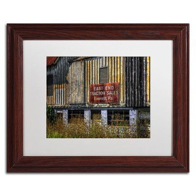 """Trademark Art """"East End Tractor Sales"""" by Lois Bryan Framed Photographic Print Size: 11"""" H x 14"""" W x 0.5"""" D, Frame Color: Brown"""