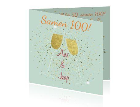 Samen 100 jaar? Dat moet je vieren met een feestelijke kaart! Een originele uitnodiging met confetti en champagneglazen. Achtergrondkleur is aan te passen.