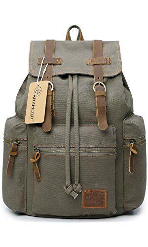Canvas Backpacks Vintage Rucksack Casual Leather Army Kipling Knapsack 19L Army Green #220