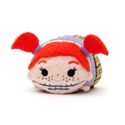 """Our """"Tsum Tsum"""" mini Darla toy is sure to shake up your Finding Nemo collection! Complete with 3D pigtails and embroidered braces, Darla's rambunctious spirit is perfectly captured in this stackable toy."""