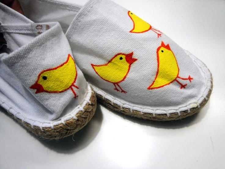 Hand painted yellow birdies on white canvas shoes by beh1ndbymk