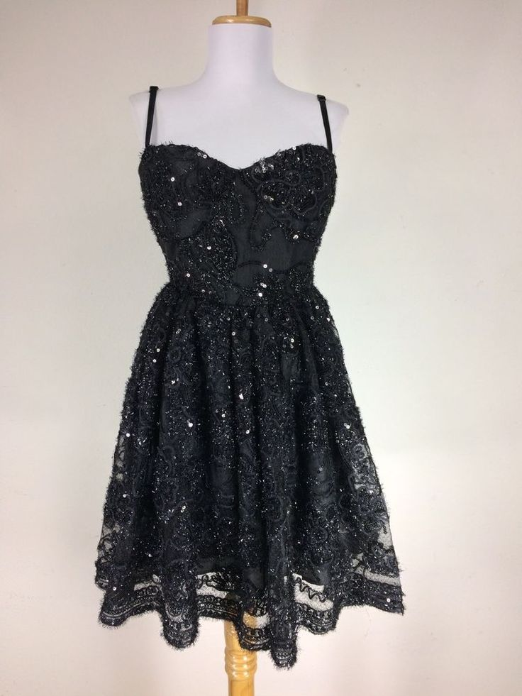 Black Lace Dress Floral Sequin Party Prom Dance Size XL Sleeveless #J7 #PromParty #Formal