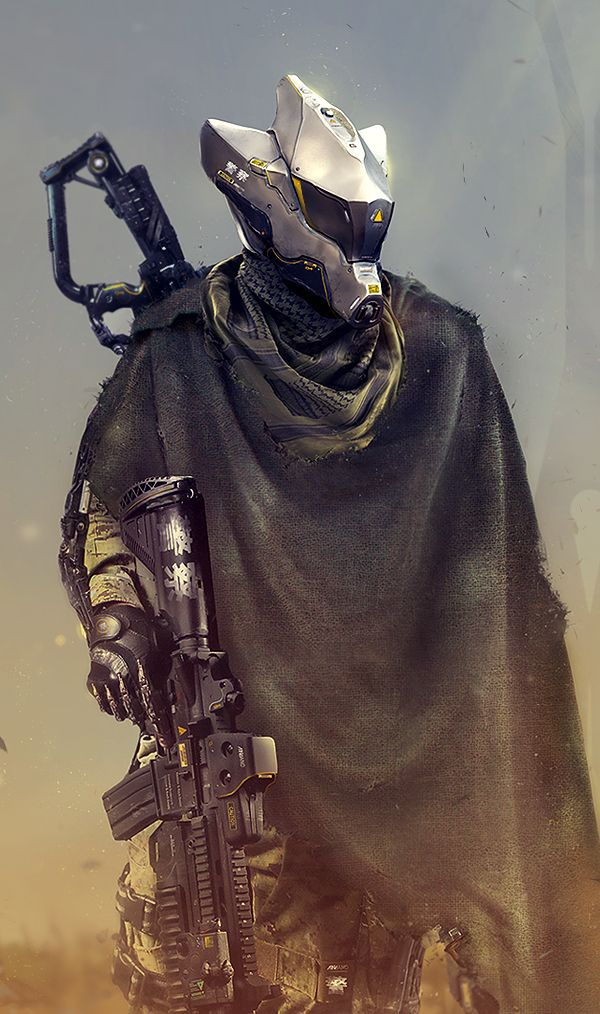 Then, See You Tomorrow by synthesys robot soldier cyberpunk gun rifle cloak armor clothes clothing fashion player character npc | Create your own roleplaying game material w/ RPG Bard: www.rpgbard.com | Writing inspiration for Dungeons and Dragons DND D&D Pathfinder PFRPG Warhammer 40k Star Wars Shadowrun Call of Cthulhu Lord of the Rings LoTR + d20 fantasy science fiction scifi horror design | Not Trusty Sword art: click artwork for source
