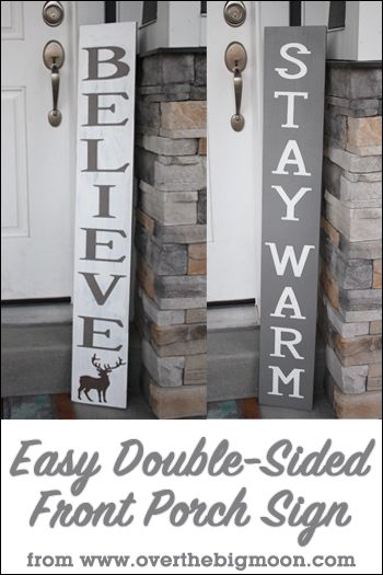DIY Double Sided Christmas Sign - learn how to make this adorable sign with a tutorial from Over the Big Moon!