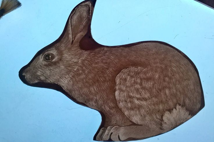 Rabbit glass painting for a new panel Sarah Roberts Stained Glass Art