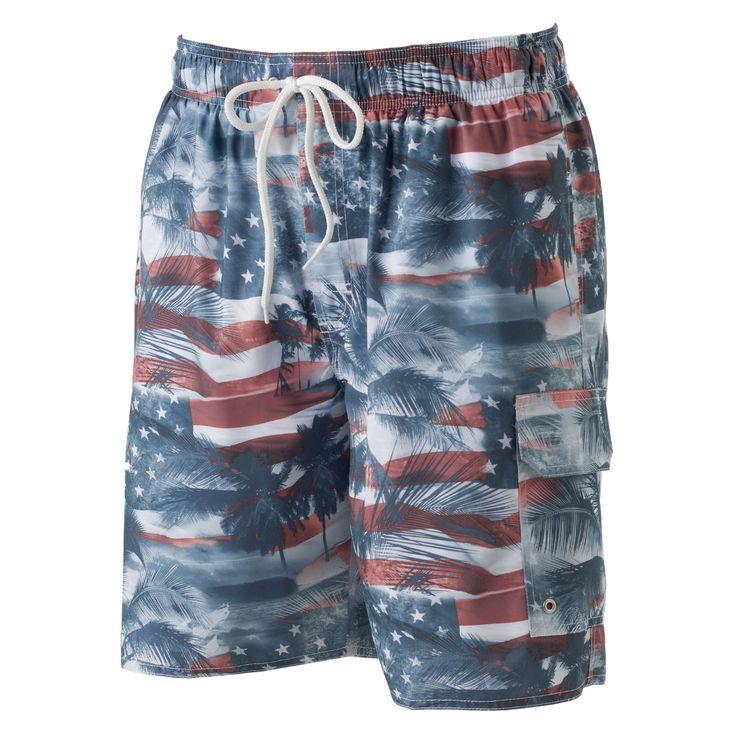 Big & Tall Croft & Barrow® Americana Microfiber Swim Trunks, Men's, Size: Xl Tall, Red Other