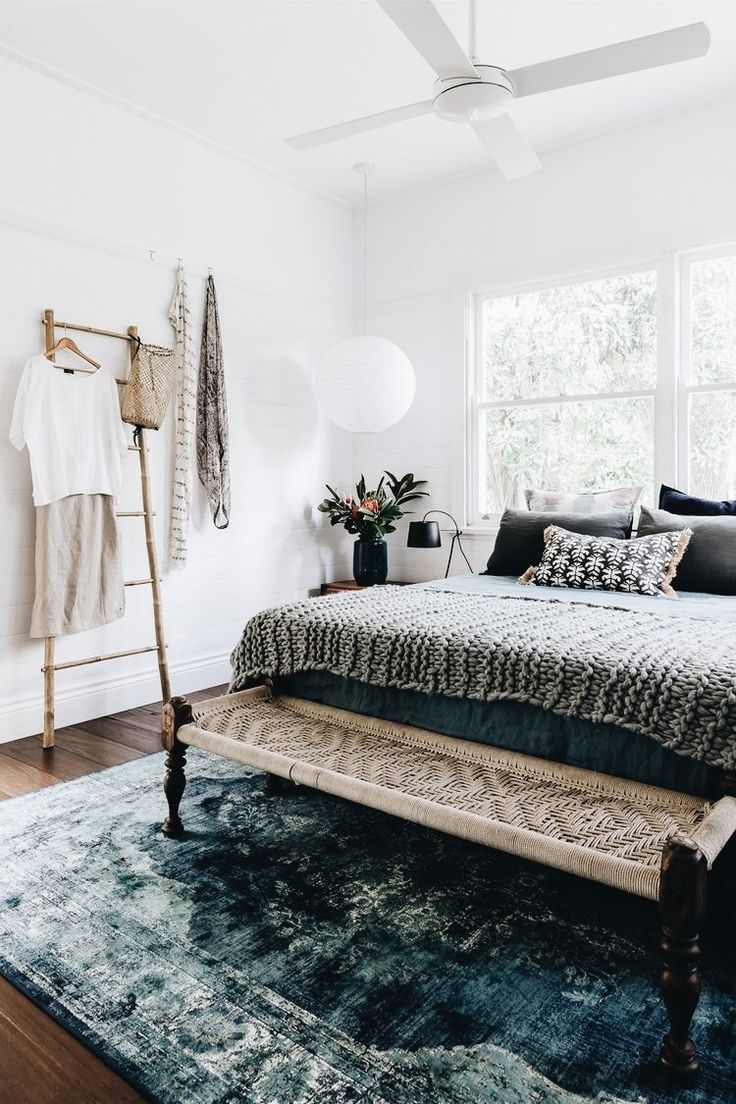 Natural light // bed bench // clothing rack // interior inspo