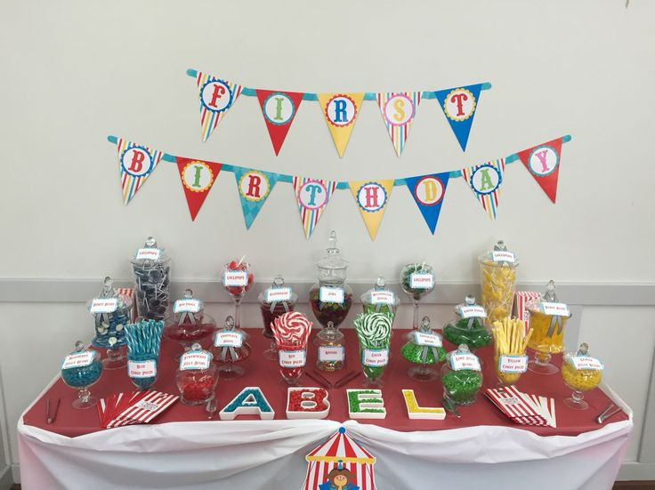 Circus themed candy buffet