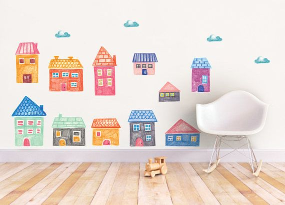 This cute set of 11 City wall decal, House wall decal, Baby shower gift, peel and stick, playing room decoration, Girls decor, City wall stickers are sure to delight any room for your special little one.  Our amazing adhesive fabric wall decal can be applied to walls, windows or any