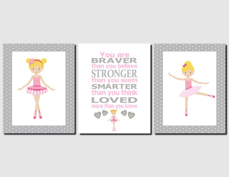 Ballerina Wall Art Kids Wall Art Pink Grey Girls Room Decor Bedroom Pictures Tweens Toddlers Baby Girl Nursery Decor Set of 3 Art Prints by vtdesigns on Etsy