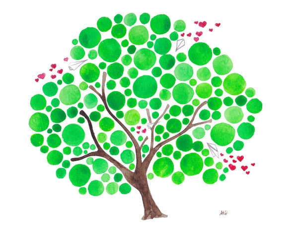 These would make wonderful one-of-a-kind greeting cards. Change colors for seasons, shape of tree (different tree types). Add sprinkles of colored, shaped sprays or birds. Use same colors inside for sentiment or leave blank.