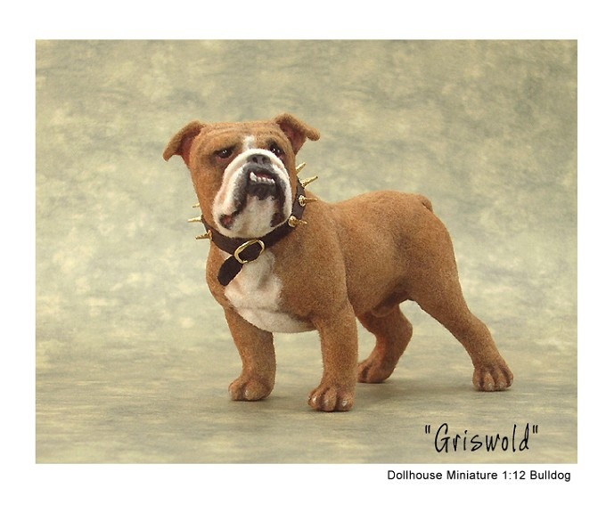 A bullie called 'Griswold' -- original sculpture of polymer clay & fibers by Kerri Pajutee