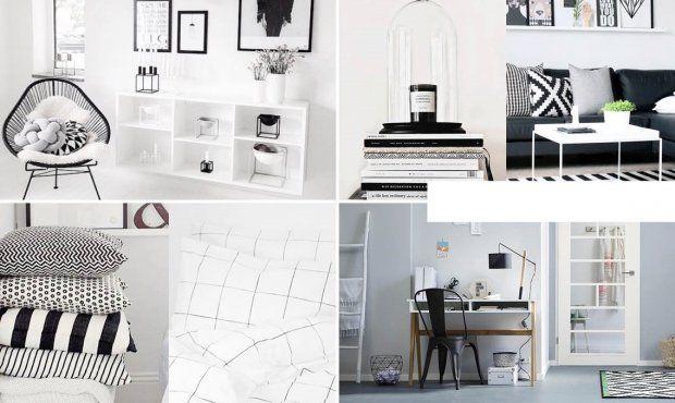 Combineer een witte basis met zwarte accenten en grafische patronen en je bent verzekert van een trendy interieur met een moderne uitstraling.