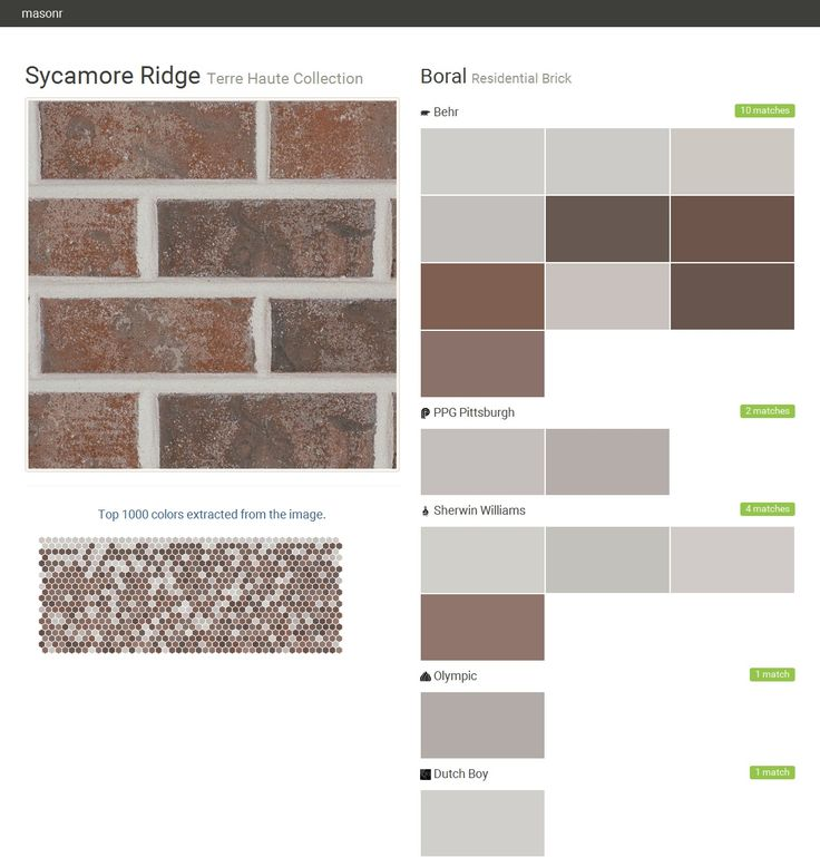 Sycamore ridge terre haute collection residential brick boral behr ppg paints sherwin for Matching exterior house paint colors