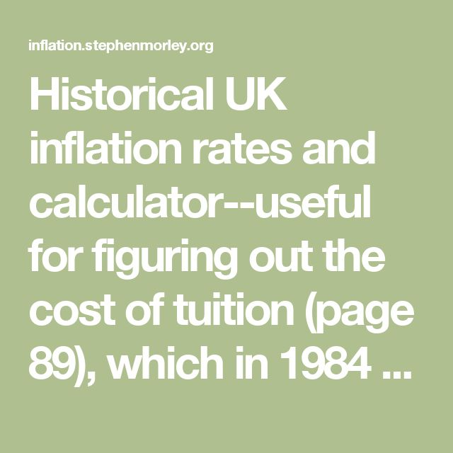 Historical UK inflation rates and calculator--useful for figuring out the cost of tuition (page 89), which in 1984 pounds was 5000 but in 2016 would be over 15,000!